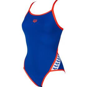 arena Team Stripe Super*** Back One Piece Swimsuit Dame neon blue/nectarine